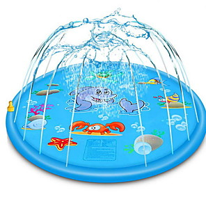 cheap Health & Household Care-68 Inch Inflatable Splash Pad Animal Pattern Sprinkler Splash Play Mat for Kids Outdoor Party Swimming Pool Water Sprinkler Toys