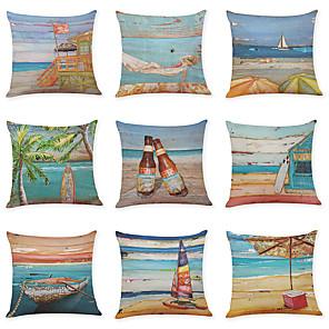 cheap Throw Pillow Covers-9 pcs Linen Pillow Cover, Summer Beach Casual Modern Square