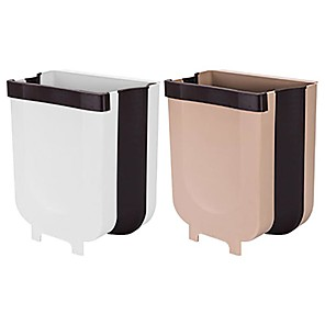cheap Bathroom Gadgets-NEW Folding Trash Can Kitchen Cabinet Garbage Door Hanging Can Wall Mounted Trash Bin Car Toilet Waste Storage Drop ship