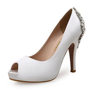 cheap Wedding Shoes-Women's Heels / Wedding Shoes Spring / Fall Stiletto Heel Peep Toe Sweet Minimalism Wedding Party & Evening Rhinestone Solid Colored Satin Almond / White / Royal Blue