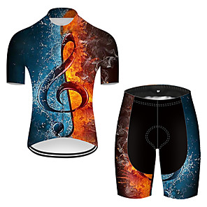 cheap Cycling Jersey & Shorts / Pants Sets-21Grams Men's Short Sleeve Cycling Jersey with Shorts Nylon Polyester Blue+Yellow 3D Patchwork Gradient Bike Clothing Suit Breathable 3D Pad Quick Dry Ultraviolet Resistant Reflective Strips Sports 3D