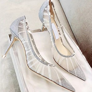 cheap Women's Heels-Women's Heels Summer Stiletto Heel Open Toe Daily Mesh Champagne / Silver