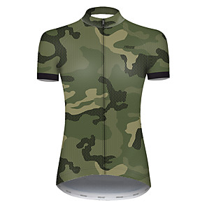 cheap Cycling Jerseys-21Grams Women's Short Sleeve Cycling Jersey Nylon Polyester Camouflage Patchwork Camo / Camouflage Bike Jersey Top Mountain Bike MTB Road Bike Cycling Breathable Quick Dry Ultraviolet Resistant Sports
