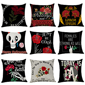 cheap Throw Pillow Covers-9 pcs Linen Pillow Cover, Alphabet Floral Linen Casual Modern Square Traditional Classic