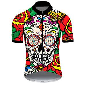 baratos Camisas Para Ciclismo-21Grams Homens Manga Curta Camisa para Ciclismo Fibra Sintética Poliéster Red / amarelo Caveiras Floral Botânico Engraçado Moto Camisa / Roupas Para Esporte Blusas Ciclismo de Montanha Ciclismo de