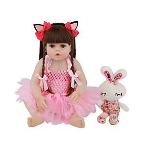 cheap Reborn Doll-FeelWind 18 inch Reborn Doll Baby & Toddler Toy Reborn Toddler Doll Baby Girl Gift Cute Lovely Parent-Child Interaction Tipped and Sealed Nails Full Body Silicone LV068 with Clothes and Accessories