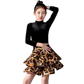 cheap Latin Dancewear-Latin Dance Kids' Dancewear Skirts Pleats Pattern / Print Girls' Training Daily Wear 3/4 Length Sleeve Polyester