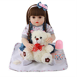 cheap Reborn Doll-FeelWind 18 inch Reborn Doll Baby & Toddler Toy Reborn Toddler Doll Baby Girl Gift Cute Lovely Parent-Child Interaction Tipped and Sealed Nails Full Body Silicone with Clothes and Accessories for