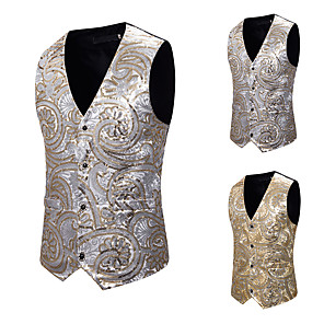 cheap Historical & Vintage Costumes-Plague Doctor Vintage Gothic Steampunk Masquerade Vest Waistcoat Men's Jacquard Sequin Costume Golden / Silver Vintage Cosplay Event / Party Sleeveless