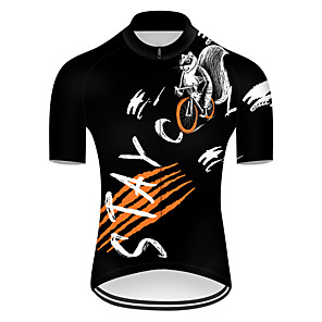 cheap Cycling Jerseys-21Grams Men's Short Sleeve Cycling Jersey Nylon Polyester Black / White Animal Squirrel Bike Jersey Top Mountain Bike MTB Road Bike Cycling Breathable Quick Dry Ultraviolet Resistant Sports Clothing