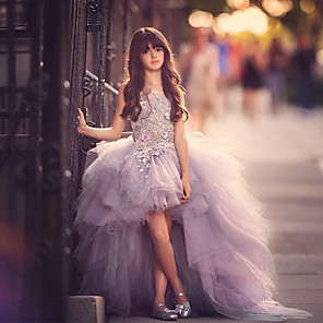 cheap Latin Dancewear-Ball Gown Sweep / Brush Train Pageant Flower Girl Dresses - Polyester Sleeveless Jewel Neck with Appliques