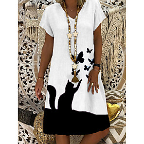 cheap Party Sashes-Women's Shift Dress Knee Length Dress - Short Sleeve Butterfly Cat Animal Summer V Neck Casual Daily 2020 White M L XL XXL 3XL