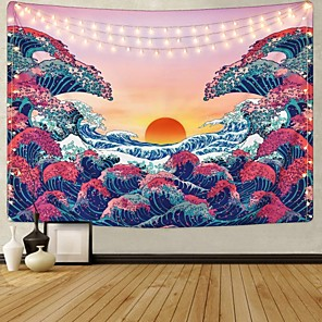 cheap Wall Tapestries-Kanagawa Wave Ukiyo-e Wall Tapestry Art Decor Blanket Curtain Hanging Home Bedroom Living Room Decoration Japanese Painting Style Sunrise Sunset Landscape
