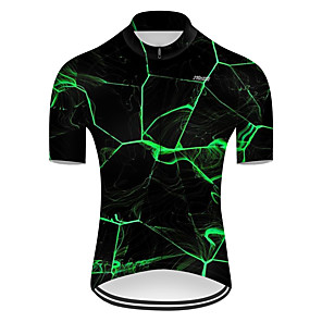 cheap Cycling Jerseys-21Grams Men's Short Sleeve Cycling Jersey Nylon Polyester Black / Green 3D Lightning Gradient Bike Jersey Top Mountain Bike MTB Road Bike Cycling Breathable Quick Dry Ultraviolet Resistant Sports