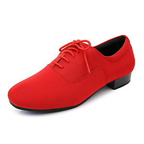 cheap Latin Shoes-Men's Latin Shoes Faux Leather Lace-up Heel Thick Heel Customizable Dance Shoes Black / Red