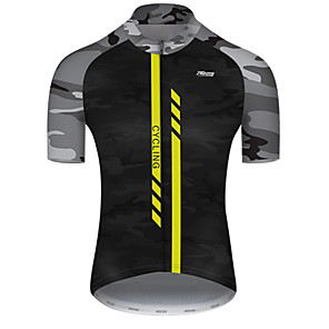 cheap Cycling Jerseys-21Grams Men's Short Sleeve Cycling Jersey Nylon Polyester Black / Yellow Stripes Patchwork Camo / Camouflage Bike Jersey Top Mountain Bike MTB Road Bike Cycling Breathable Quick Dry Ultraviolet