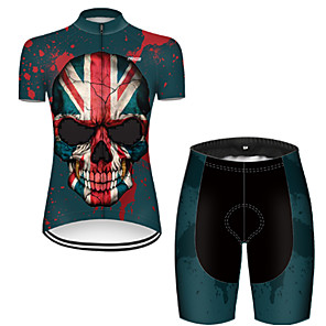 cheap Cycling Jersey & Shorts / Pants Sets-21Grams Women's Short Sleeve Cycling Jersey with Shorts Nylon Polyester Black / Red Skull UK National Flag Bike Clothing Suit Breathable 3D Pad Quick Dry Ultraviolet Resistant Reflective Strips Sports