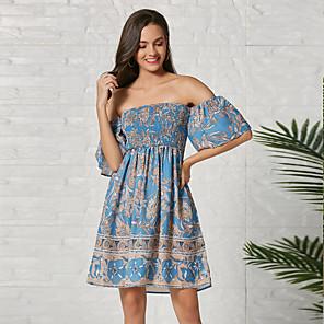 cheap Women's Heels-Women's Sheath Dress Knee Length Dress - Half Sleeve Geometric Summer Casual 2020 Blue S M L XL XXL
