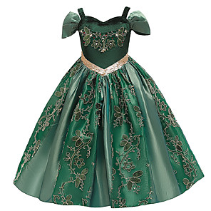 cheap Movie & TV Theme Costumes-Princess Anna Flower Girl Dress Girls' Movie Cosplay A-Line Slip Green Dress Christmas Halloween Children's Day Polyester