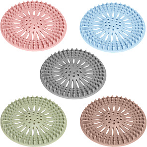 cheap Bathroom Gadgets-5PCS High Quality Sink Sewer Filter Floor Drain Strainer Water Hair Stopper Bath Catcher Shower Cover Kitchen Bathroom Anti Clogging Color Random