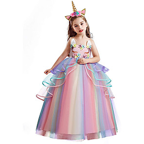 cheap Movie & TV Theme Costumes-Princess Unicorn Dress Flower Girl Dress Girls' Movie Cosplay A-Line Slip White / Purple / Pink Dress Children's Day Masquerade Tulle Polyester
