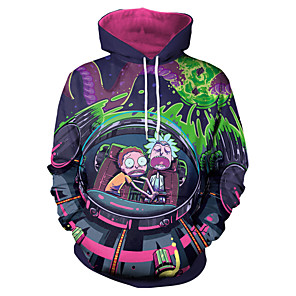 cheap Everyday Cosplay Anime Hoodies & T-Shirts-Inspired by Rick and Morty Cosplay Costume Hoodie Polyster Print Printing Hoodie For Men's / Women's