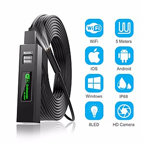 cheap Smart Switch-1200P Endoscope Camera Wireless Endoscope 2.0 MP 1M 2M 5M HD Borescope Rigid Snake Cable for IOS iPhone Android Samsung Smartphone PC