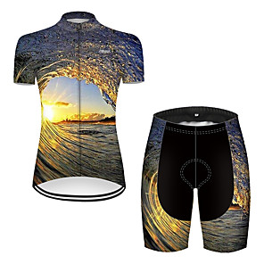 cheap Cycling Jerseys-21Grams Women's Short Sleeve Cycling Jersey with Shorts Nylon Polyester Black / Yellow 3D Gradient Bike Clothing Suit Breathable 3D Pad Quick Dry Ultraviolet Resistant Reflective Strips Sports 3D