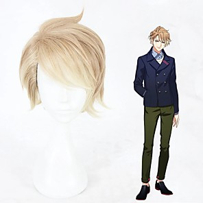 cheap Synthetic Trendy Wigs-Cosplay Costume Wig Cosplay Wig Itaru Chigasaki Curly Cosplay Halloween Asymmetrical With Bangs Wig Short Blonde Synthetic Hair 12 inch Men's Anime Cosplay Color Gradient Mixed Color