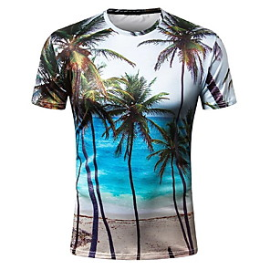 cheap Doorbell Systems-Men's T-shirt Graphic Scenery Print Tops Round Neck Blue / Short Sleeve