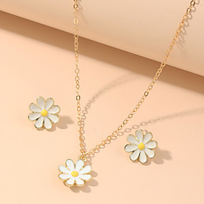 cheap Necklaces-Women's Jewelry Set Classic Daisy Simple Classic Trendy Fashion Cute Earrings Jewelry Gold For Party Evening Gift Street Beach Festival 2pcs