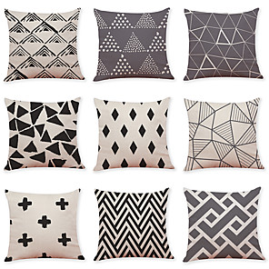 cheap Throw Pillow Covers-9 pcs Linen Pillow Cover, Grid Pattern Geometric Pattern Casual Modern Square Traditional Classic