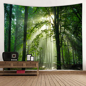 cheap Wallpaper-Sunny Forest Digital Printed Tapestry Decor Wall Art Tablecloths Bedspread Picnic Blanket Beach Throw Tapestries Colorful Bedroom Hall Dorm Living Room Hanging