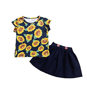 cheap Kids Collection Under $8.99-Baby Girls' Basic Floral Sleeveless Regular Clothing Set Navy Blue