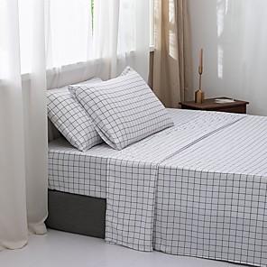 povoljno Jastuci-Posteljina od 4 komada cvjetnog ili rešetkastog dizajna - dubok džep - topao, super mekan prozračan& Posteljina za posteljinu od vlage uključuje 1 ravan lim i 1 namješteni lim& 1 ili 2