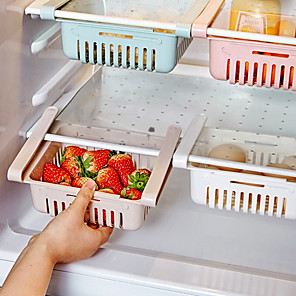 cheap Bathroom Gadgets-Adjustable Stretchable Refrigerator Organizer Drawer Basket Refrigerator Pull-out Drawers Fresh Spacer Layer Storage Rack