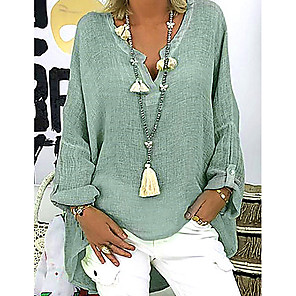cheap Wedding Wraps-Women's Plus Size Solid Colored Loose Blouse Causal V Neck White / Black / Blushing Pink / Green / Light Green / Light Blue