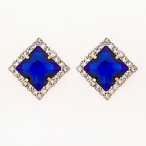 cheap Earrings-Women's AAA Cubic Zirconia Earrings Princess Square Mini Stylish Luxury Gold Plated Earrings Jewelry Blue For Wedding Daily 1 Pair