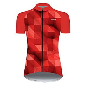 cheap Cycling Jerseys-21Grams Women's Short Sleeve Cycling Jersey Nylon Polyester Black / Red Plaid Checkered 3D Gradient Bike Jersey Top Mountain Bike MTB Road Bike Cycling Breathable Quick Dry Ultraviolet Resistant