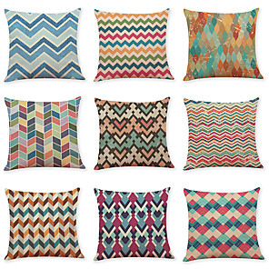 cheap Throw Pillow Covers-9 pcs Linen Pillow Cover, Geometric Pattern Waves Casual Modern Square Traditional Classic