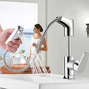 cheap Bathroom Sink Faucets-Pullout Spray Sink Faucet/ Rotatable /Brass/  Design/Double outlet Chrome Deck Mounted Single Handle One HoleBath Taps Sink Faucet
