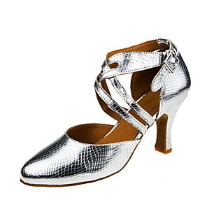 povoljno Obuća za dvoranski ples i moderne plesove-Žene Plesne cipele Cipele za latino plesove Štikle Kubanska potpetica Srebro / Seksi blagdanski kostimi