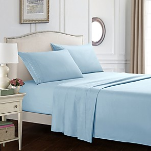 povoljno Jastuci-Posteljina od 4 komada posteljine u punoj boji - dubok džep toplo-super meko prozračan& Posteljina za posteljinu od vlage uključuje 1 ravan lim i 1 namješteni lim& 1 ili 2 jastučnice