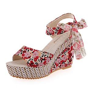 cheap Women's Sandals-Women's Sandals Summer Wedge Heel Open Toe Daily PU Black / Red / Blue