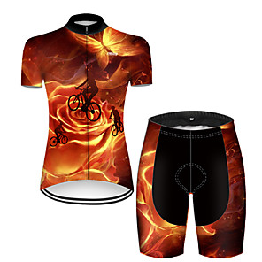 cheap Cycling Jersey & Shorts / Pants Sets-21Grams Women's Short Sleeve Cycling Jersey with Shorts Nylon Polyester Black / Orange 3D Butterfly Gradient Bike Clothing Suit Breathable 3D Pad Quick Dry Ultraviolet Resistant Reflective Strips