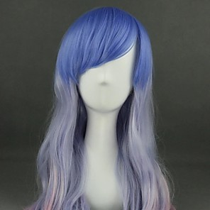 cheap Costume Wigs-Cosplay Wig Lolita Curly Cosplay Halloween With Bangs Wig Long Light Blue Synthetic Hair 25 inch Women's Anime Cosplay Color Gradient Blue