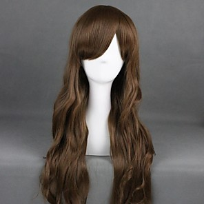 cheap Costume Wigs-Cosplay Wig Lolita Curly Cosplay Halloween With Bangs Wig Long Brown Synthetic Hair 31 inch Women's Anime Cosplay Elastic Brown