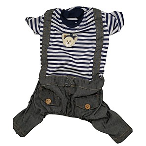 cheap Dog Clothes-Dog Jumpsuit Dog Clothes Stripes Blue Denim Costume For Spring &  Fall Men's Casual / Daily
