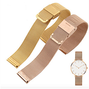 cheap Smartwatch Bands-Smart Universal Milanese Watchband 20mm 22mm Silver Stainless Steel Strap Band Replacement Bracelet strap
