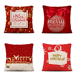 cheap Throw Pillow Covers-4 pcs Cotton Polyester Pillow Cover, Christmas Classic Square Polyester Traditional Classic